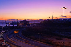 Evening in the passenger port of Piraeus, Athens Royalty Free Stock Photos
