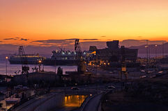 Evening in the passenger port of Piraeus, Athens Stock Photography