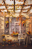Evening patio. Window with vintage shutters Royalty Free Stock Photos