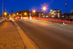 Evening photo of the Butterfly Bridge with traffic in Hoogeveen Royalty Free Stock Photography