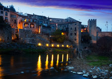 Evening photo of medieval town. Besalu Stock Image