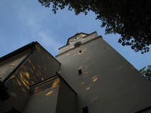 Evening photo of tower of Holy Trinity Church in Novy Jicin (Cze Royalty Free Stock Photo