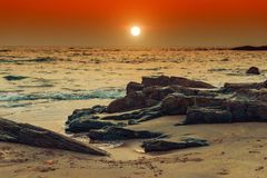 Evening picture beach and sunset in Goa. Tinted Stock Photo