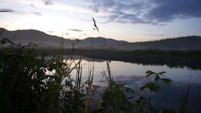 Evening on Pilenge`s river stock footage