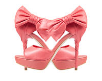 Evening pink shoes with a bow on a high heel. collage Stock Images