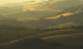 Evening pola i wzgórza Obrazy Stock