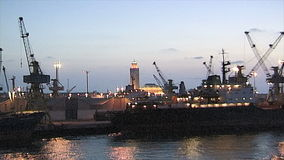 Evening in the port of Casablanca. stock footage
