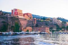 Evening in Port of Marina Grande in Sorrento. Tyrrhenian sea, Amalfi coast, Italy stock photography