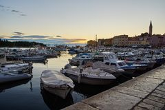 Evening at the port of Rovinj Stock Photo
