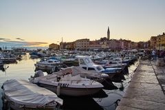 Evening at the port of Rovinj Royalty Free Stock Image