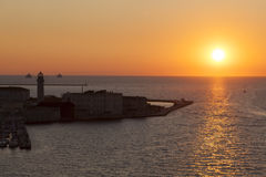 Evening in the port of Trieste Stock Photography