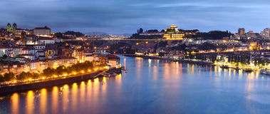 Evening Porto. Panorama of the evening city of Porto on the river Douro, Portugal Stock Images