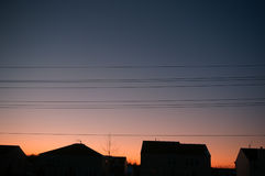 Evening Power Lines Royalty Free Stock Photography