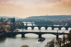 Evening Prague Bridge Stock Image