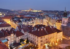 Evening Prague with castle Stock Image