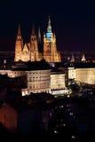 Evening Prague City with the gothic Castle, Czech Republic Stock Photography