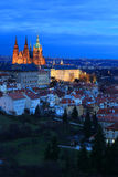 Evening Prague City with the gothic Castle, Czech Republic Royalty Free Stock Photo