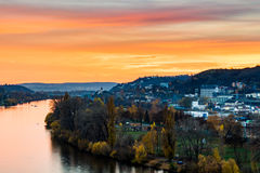 Evening Prague scene over Vltava/Moldau river in Prague taken from the top of Vysehrad castle, Czech Republic stock photography