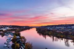 Evening Prague scene over Vltava/Moldau river in Prague taken from the top of Vysehrad castle, Czech Republic Stock Photography