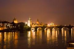 Evening Prague, view of the Charles Bridge Royalty Free Stock Image