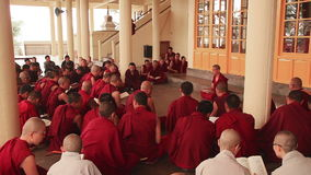 Evening Prayer Tsuglagkhang Temple Monks Buddhism. McLeod Ganj, India - April, 2016: evening prayer in Tsuglagkhang temple in Dharamsala, McLeod Ganj, India on stock video footage