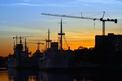 Evening on the Pregel river. Kaliningrad (former Konigsberg), Russia Royalty Free Stock Photo
