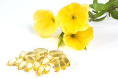 Evening primroses with gelatin capsules Stock Photography