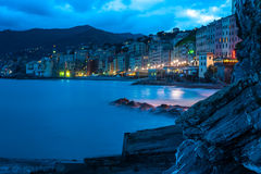 Evening promenade Italian city Camogli. Evening seaside promenade Italian city Camogli Stock Photography