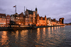 Evening promenade and old ship, Gdansk, Poland Stock Photography