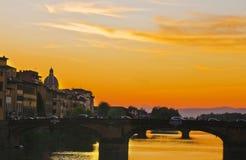 Evening przespacerowanie: Florencja zmierzch Fotografia Stock