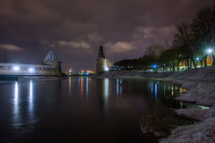 Evening Pskov, a place where the river empties into the river Ps. Evening, Pskov winter, the river and Kremlin towers royalty free stock images