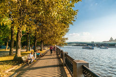 Evening on Pushkin embankment of Moscow Gorky park Stock Photos
