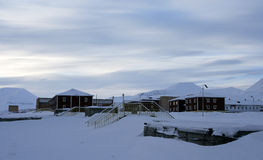 Evening in Pyramiden, Svalbard. Royalty Free Stock Photography
