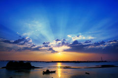 Evening Qiantang River,Tyndall effect Royalty Free Stock Photo