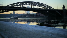Evening quay in winter stock footage