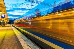Evening railway station Stock Photo
