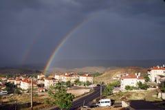 Evening rainbow over Mustafapasha Royalty Free Stock Image