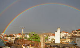 Evening rainbow over Mustafapasha Stock Image