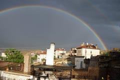Evening rainbow over Mustafapasha Stock Images
