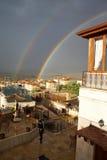 Evening rainbow over Mustafapasha Stock Photography