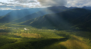 Evening rays on Kronotsky Nature Reserve in Kamchatka Peninsula. Royalty Free Stock Photography