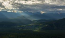 Evening rays on Kronotsky Nature Reserve in Kamchatka Peninsula. Stock Photo