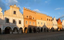 Evening red colored view of Telc or Teltsch town square Royalty Free Stock Image