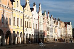 Evening red colored view of Telc or Teltsch town square Stock Photo