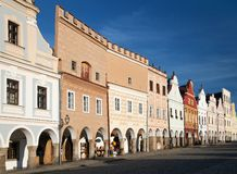 Evening red colored view of Telc or Teltsch town square Stock Image
