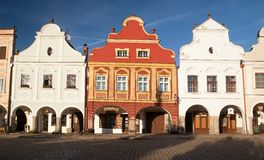 Evening red colored view of Telc or Teltsch town square Royalty Free Stock Photos