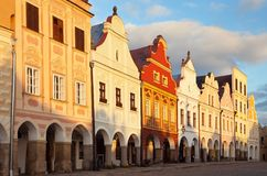 Evening red colored view of Telc or Teltsch town square. Czech republic. world heritage site by unesco Stock Images