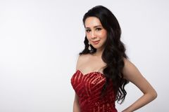Evening Red Gown Ball Dress Asian beautiful woman royalty free stock photo