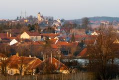 Evening red roofs, beautiful Budisov village Stock Photo