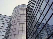 Evening reflection. Glass building stock photography